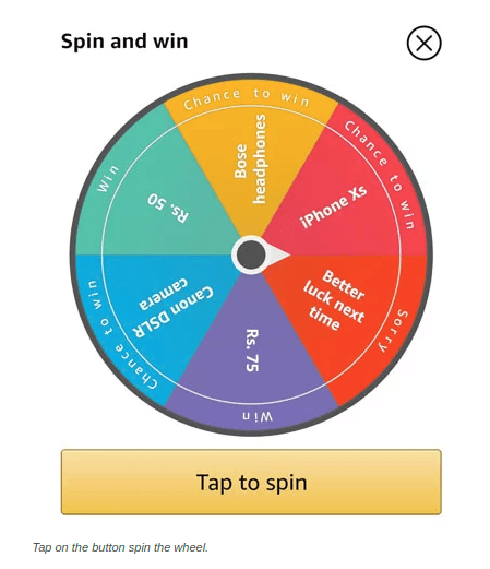 Amazon Spin to Win Wheel